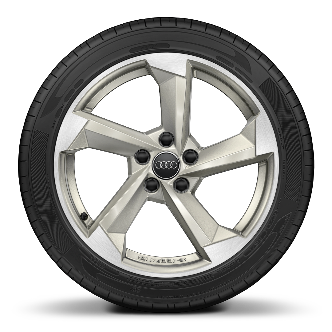 Audi Sport cast alloy wheels, 5-arm turbine style, Magn. Look, diam.-turn., 7.5J x 18 with 225/40 R18 tires