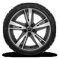 19寸铸造铝合金轮毂, 5辐刀锋设计, 亚光钛合金外观