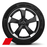 Alloy wheels, 5-arm rotor style, Anthracite Black, diam.-turned,8J x 19, 235/40 R19 tires, Audi Sport GmbH