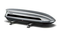 Ski and luggage box, platinum grey with brilliant black side blade, 300L