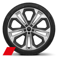 "21"" x 8.5J '5-twin-spoke' module design Audi Sport alloy wheels with inlays in matt grey with 255/40 R21 tyres"