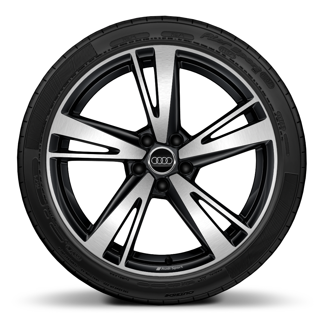 "19"" x 8.5J (front) and 19"" x 8J(rear) '5-arm blade style' design Audi Sport alloy wheels in glossy anthracite black, diamond cut finish with 255/30 R19 tyres(front) 235/35 R19(rear)"