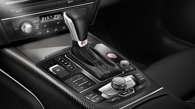Gear lever knob in black perforated leather