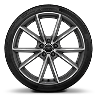 Audi Sport cast alloy wheels, 5-spoke V-style, Matte Titanium Look, diamond- turned, 9J x 20 with 255/30 R20 tires