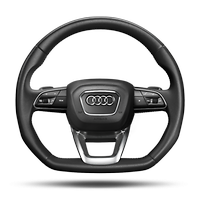 "Multi-function 3-spoke leather steering wheel with shift paddles and flat bottom, including perforated side sections and ""S"" badging"