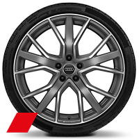 "20"" x 9J '5-V-spoke star' design alloy wheels in matt titanium look, gloss turned finish with 265/30 tyres"