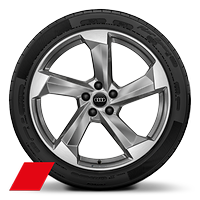 Audi Sport cast alloy wheels, 5-arm turbine style, Platinum Look, diamond- turned, 8.5J x 20, 255/40 R20 tires