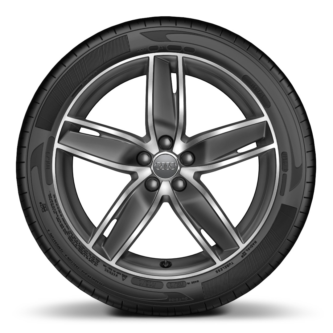 Audi Sport cast aluminium alloy wheels, 5-arm wing design,gloss titanium look, size 7.5J x 18, with 225/35 R18 tyres