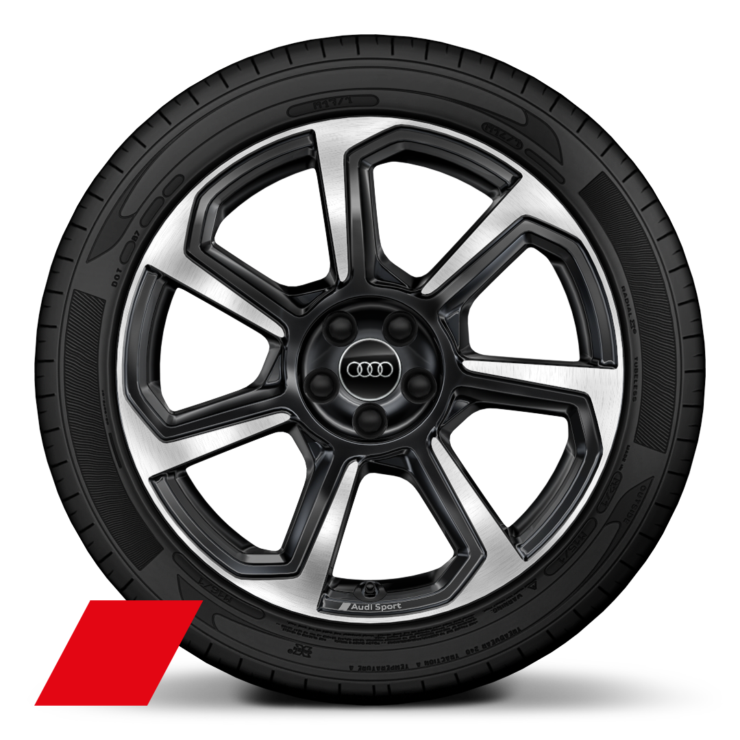 "18"" x 7.5J '7-spoke rotor' design alloy wheels in gloss anthracite black, diamond cut finish with 215/40 R18 tyres"