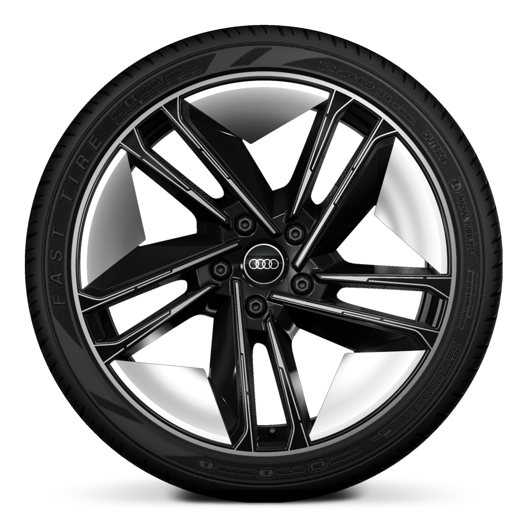 "21"" '5-spoke' design alloy wheels in black with graphic print"