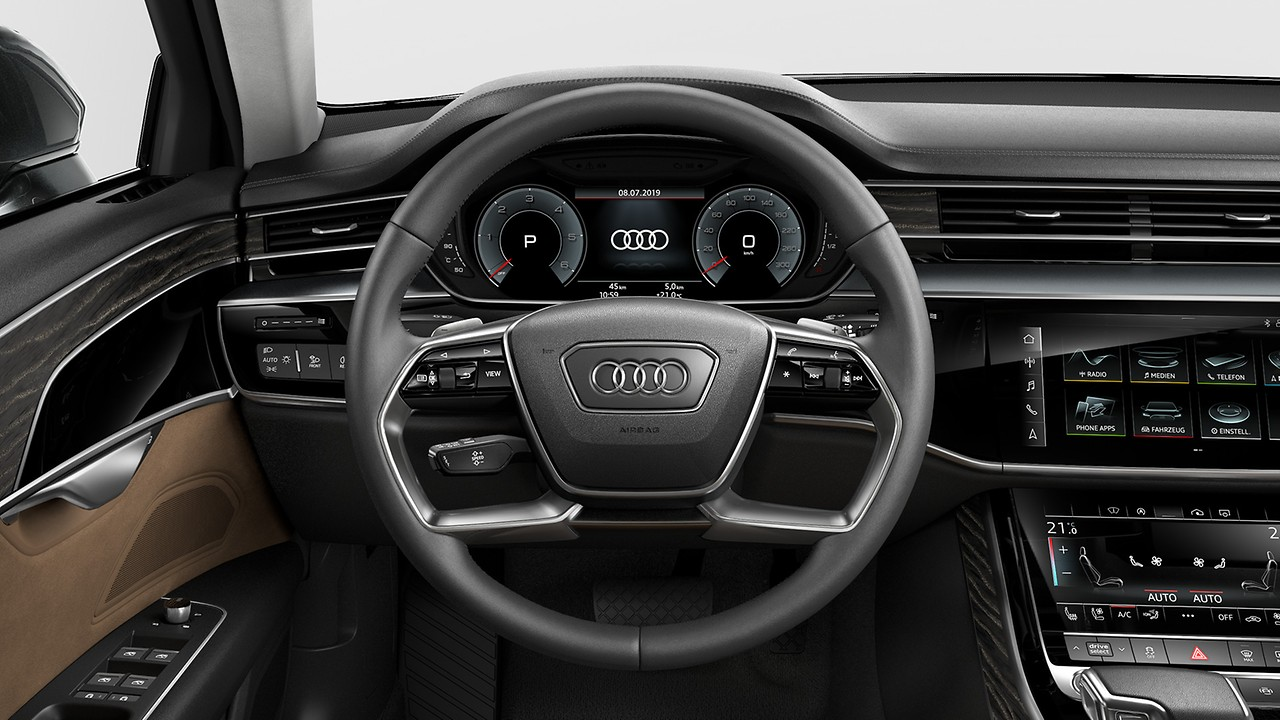 Twin-spoke leather multi-function steering wheel with shift paddles