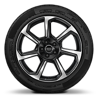 Audi Sport forged alloy wheels, 7-spoke rotor style, Anthracite Black, diam.-turned, 8.5x19 w/ 255/45 R19 tires