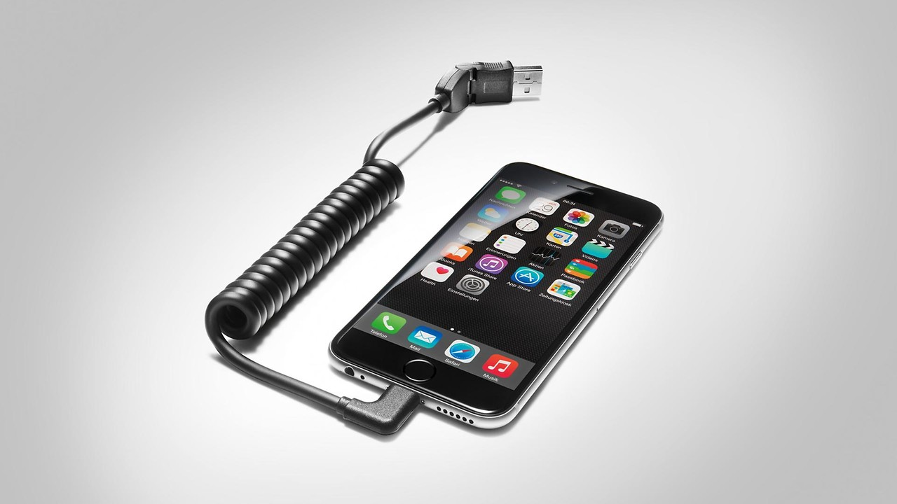USB adapter cable, for mobile devices with an Apple Lightning port, angled
