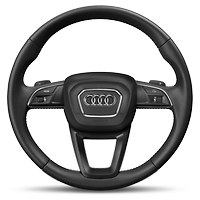 Leather-wrapped multi-function steering wheel, 3-spoke style