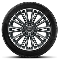 Cast alloy wheels, 10-spoke V-style, Contrast Gray, partly polished, 8J x 18, 235/55 R18 tires