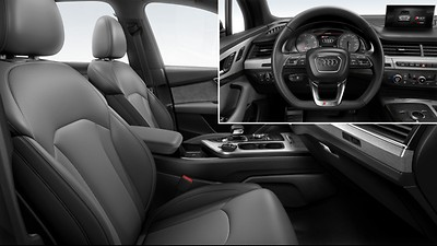 Individual contour seats in front w/ sports contour leather-wrapped steering wheel, 3-spoke, flat-bottomed