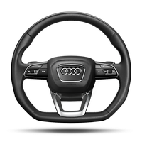 Flat bottomed 3 spoke multifunction steering wheel with shift paddles
