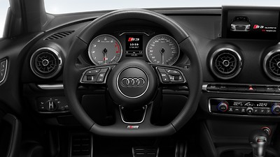 Leather-wrapped multifunction sports steering wheel w/ tiptronic