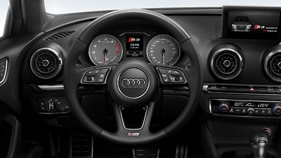 Leather-wrapped multi-function sports steering wheel, 3-spoke, heated