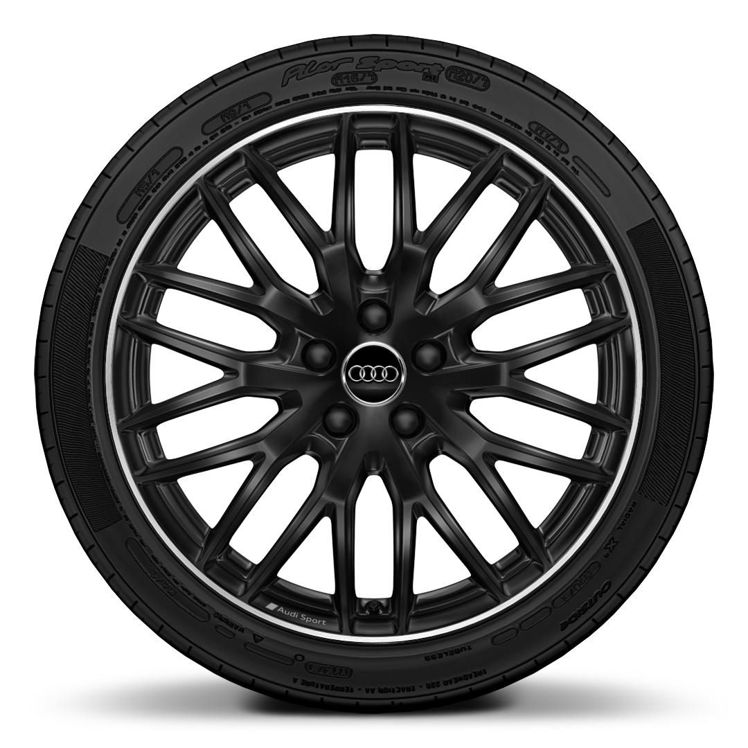 "19"" x 8.0J '10-Y-Spoke"" design Audi Sport alloy wheels in gloss  black, diamond cut finish with 235/35 R 19 tyres"