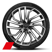 "20"" Audi Sport wheels in 5-segment-spoke evo design in matt titanium look, gloss turned finish with 275/30 tyres"