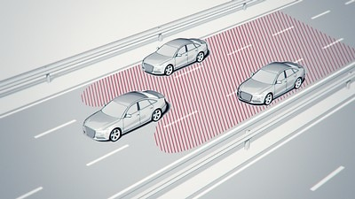 Lane change assist including exit warning and cross traffic assist rear