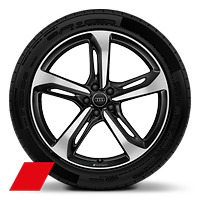 Audi Sport cast alloy wheels, 5-spoke blade style, Black, diamond-turned, 9.5J x 21 with 285/40 R21 tires