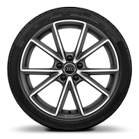 Audi Sport cast alloy wheels, 5-V-spoke style, Matte Titanium Look, diamond- turned, 8J x 19 with 235/35 R19 tires