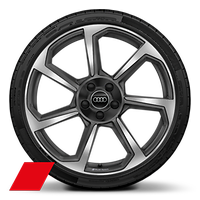 "20""  Audi Sport  alloy wheels in 7-spoke rotor design, matt titanium, gloss turned finish,with 255/30 tyres"