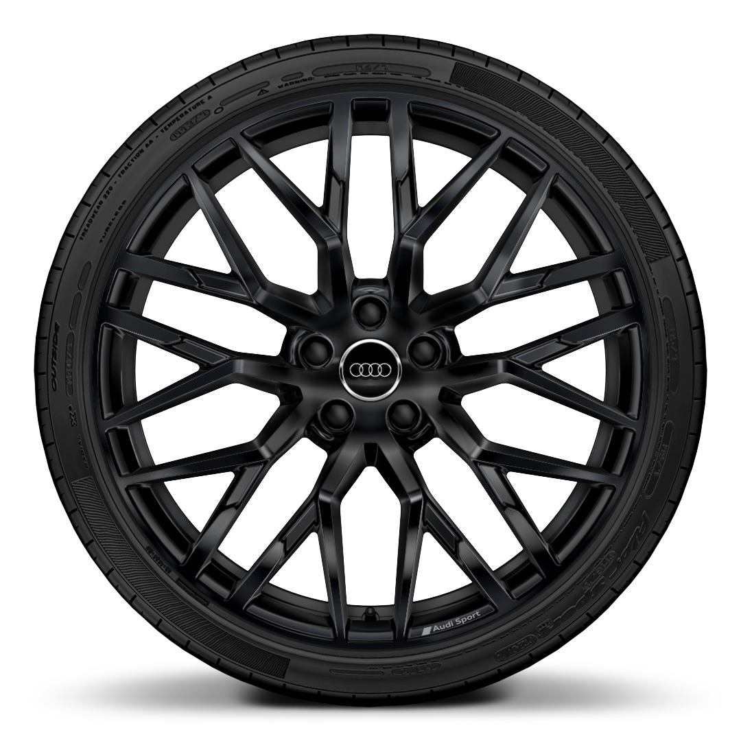 "20"" '10-spoke Y design' forged aluminium wheels in gloss anthracite black"