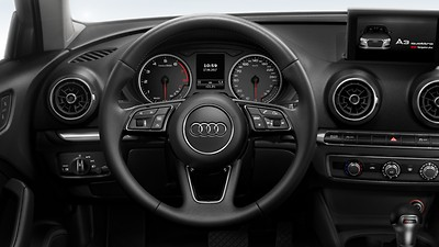3-spoke leather trimmed multi-function Sport steering wheel  (with gear-shift paddles for S tronic transmissions)
