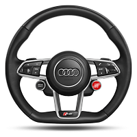 R8 3-spoke, flat bottomed, multi-functional, performance leather steering wheel with 2 operating satellites