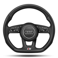 Flat-bottomed, 3-spoke, leather-wrapped multifunction steering wheel with shift paddles *