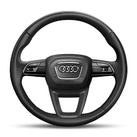 Leather-wrapped multi-function steering wheel, 3-spoke