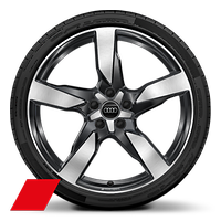 Audi Sport cast alloy wheels, 5-arm polygon style, Anthracite Black, 8.5J x 20 with 255/40 R20 tires