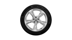 Complete winter wheel in 5-spoke dynamic design, brilliant silver,  7 J x 19, 235/55 R19 101H, left