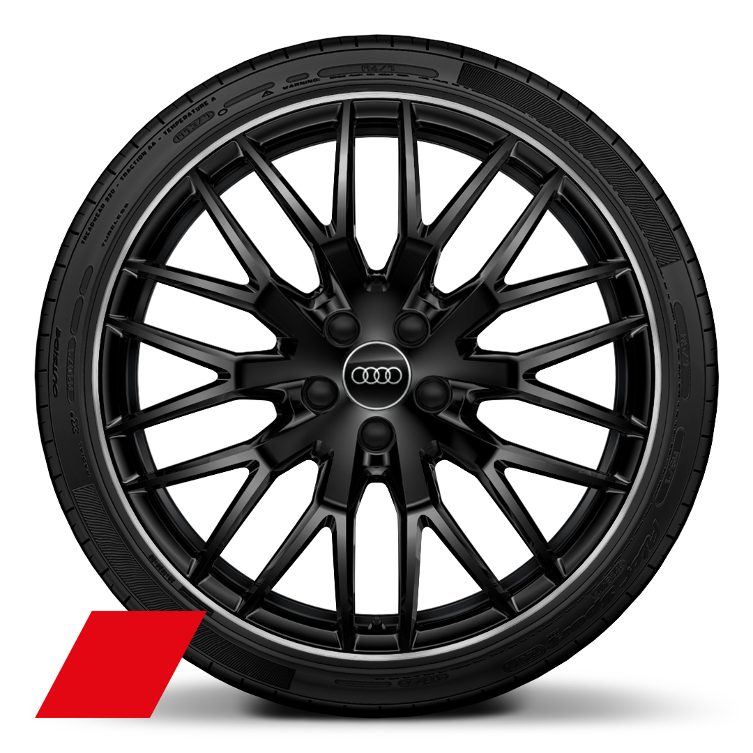 "20"" x 9J 10-spoke Y-Style, glossy black diamond cut with 255/30 R20 tyres"