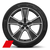 Alloy wheels, 5-arm off-road style, Matte Titan. Gray, diam.-turn.,8J x 20, 255/45 R20 tires, Audi Sport GmbH