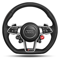 R8 Performance leather-wrapped steering wheel with multifunction Plus and 4 control satellites