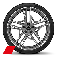 Alloy wheels, 5-double-spoke dynamic style, Matte Titanium Gray,diam.-turn., 8.5J|11.0Jx20, 245/30|305/30 R20 tires