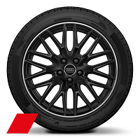 Audi Sport cast alloy wheels, 10-spoke Y-style, Glossy Black, diam.- turned, 8J x 18 with 245/40 R18 tires