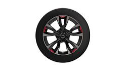 Winterleichtmetallrad 5-V-Speichen-Acumen, schwarz mit Kontrastfarben Quarzgrau und Signalrot, 8,0Jx18, 225/40 R18 92V XL, links