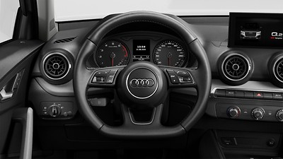 3 spoke multi function flat-bottom steering wheel with shift paddles