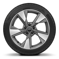 Audi Sport cast alloy wheels, 5-arm pylon style, matte titanium look, diam.-turned, 8J x 18, 225/40 R18 tires