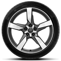 Audi Sport cast alloy wheels, 5-arm polygon style, Matte Titanium Look, diam.-turn., 9J x 19 w/ 255/45 R19 tires