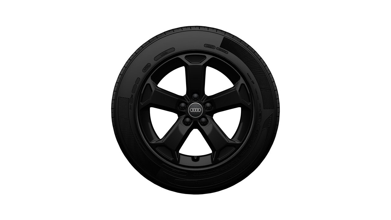 Complete winter wheel in 5-arm latus design, black, 7 J x 17, 215/55 R17 94V, right