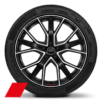 "20"" Audi Sport alloy wheels in 5-V-spoke design, gloss anthracite black, partly polished with 255/45 tyres"