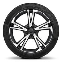 Alloy wheels, 5-arm Falx style, Black Matte, diamond-turned, 8.0J x 20, 255/45 R20 tires