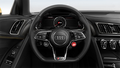 R8 leather-wrapped sports steering wheel with multi-function Plus and 2 control satellites