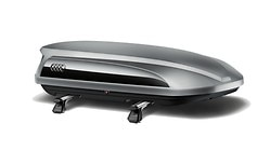 Ski and luggage box, platinum grey with brilliant black side blade, 360 l
